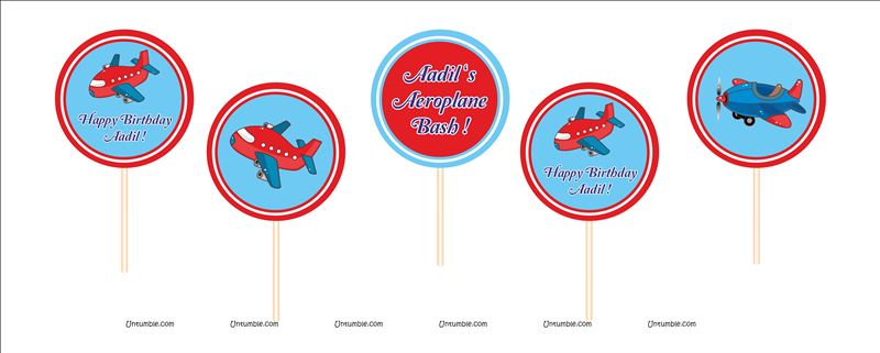 Aeroplane theme Cup cake Toppers