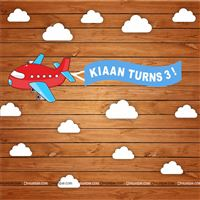 Aeroplane Birthday Banner Backdrop