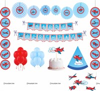 Aeroplane theme Paper Fan Party kit