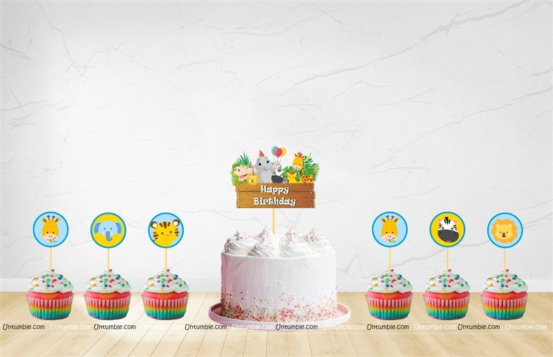 Jungle Cup cake & cake topper set ( Pack of 13)