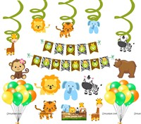 Jungle Swirls Party Pack ( Set of 54 pcs)