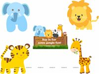 Baby Jungle Birthday theme Posters pack of 5