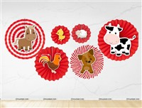 Barn Animals Paper Fan Decorations