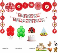 Barnyard theme Paper Fan Party Kit