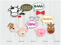 Farm Animal Photo Booth Props (Pack of 13 pcs)