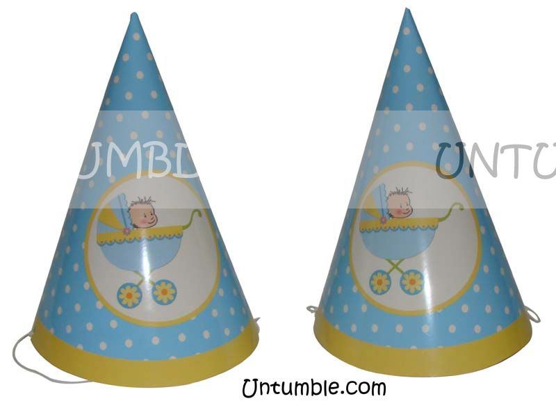 Blue baby in crib hat (Set of 6)