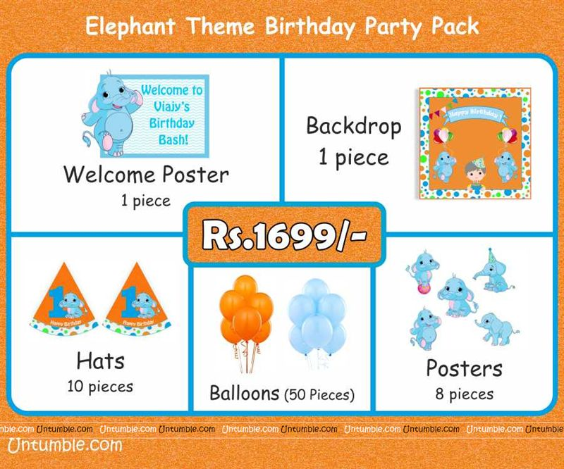 Baby Elephant Theme Mini Party Pack