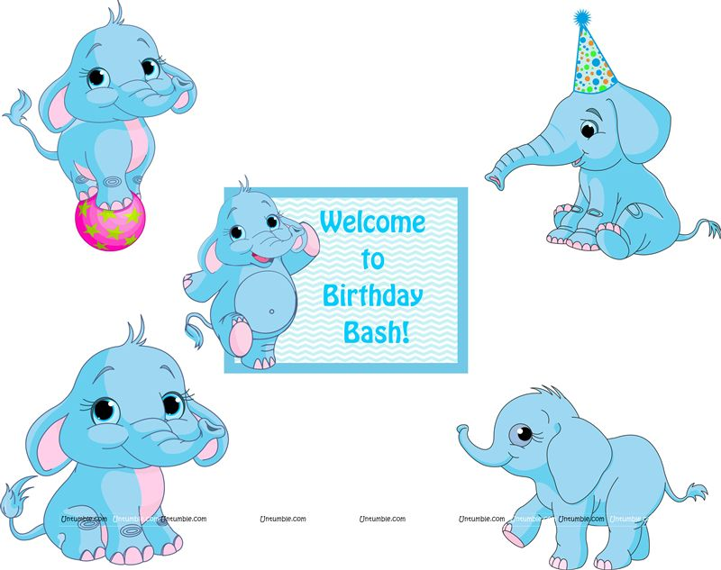 Elephant Theme Birthday Posters pack of 5