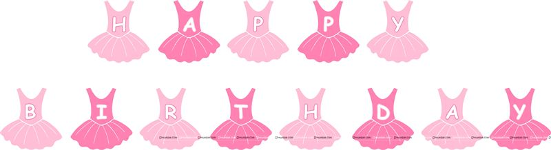Ballerina Theme Happy Birthday Banner/Bunting