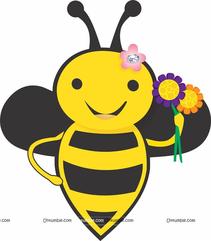 Bee with flowers poster