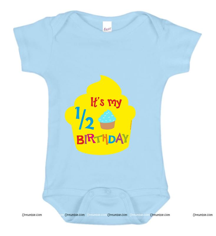 Blue 1/2 Birthday Printed Baby Romper / Onesie for Boys