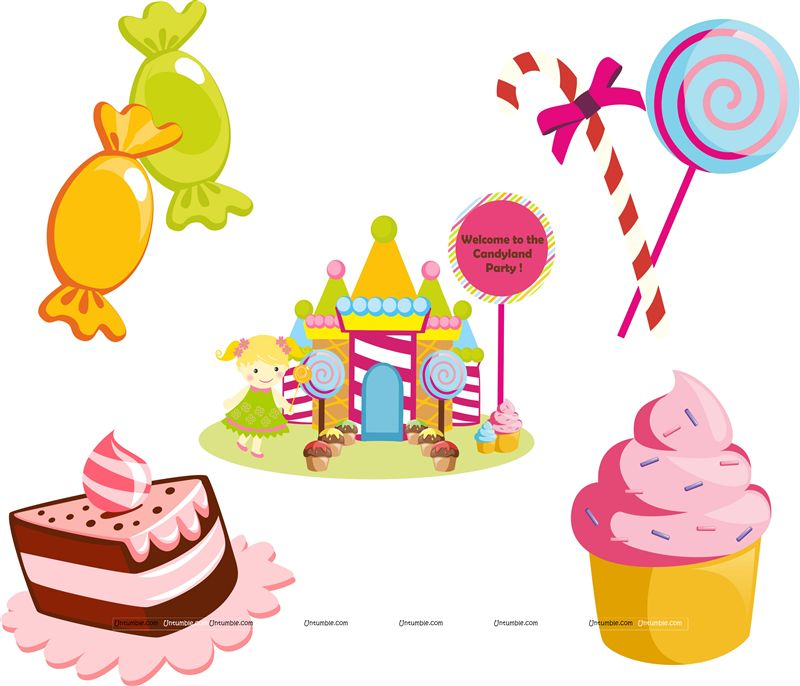 Candyland birthday theme Posters pack of 5