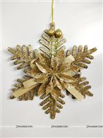 Dull Gold Christmas Snow flake dangler