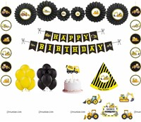 Construction theme Paper Fan Party Kit