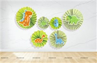 Dinosaur Theme Paper Fan Decorations
