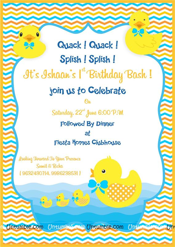 Yellow duck party invites