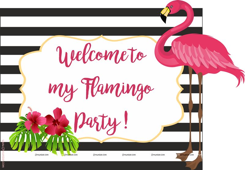 Flamingo welcome poster black stripes