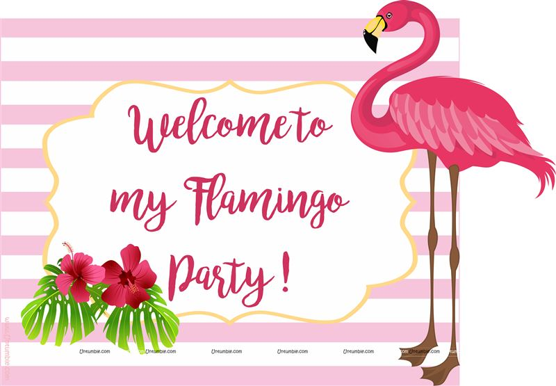 Flamingo Welcome Poster pink stripes