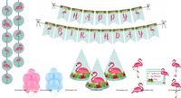 Flamingo theme Super saver birthday decoration kit (Pack of 58 pieces)
