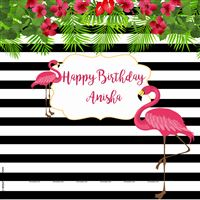 Pink Flamingo black striped backdrop