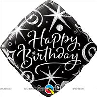 Black Happy birthday Foil balloon