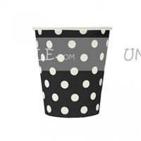 Black & white polka paper cups
