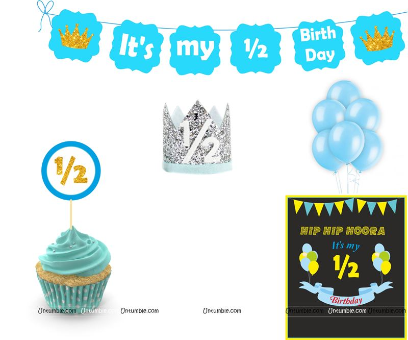 Six Month Birthday theme - Six Month Birthday theme Blue Half Birthday party kit for a baby boy