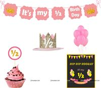 Six Month Birthday theme Pink Half Birthday party kit for a baby girl