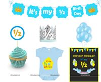 Boy Half Birthday party kit in Blue