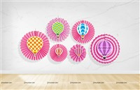 Hot Air Balloon Paper Fan Decorations