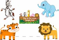 Jungle Birthday Supplies theme Posters pack of 5