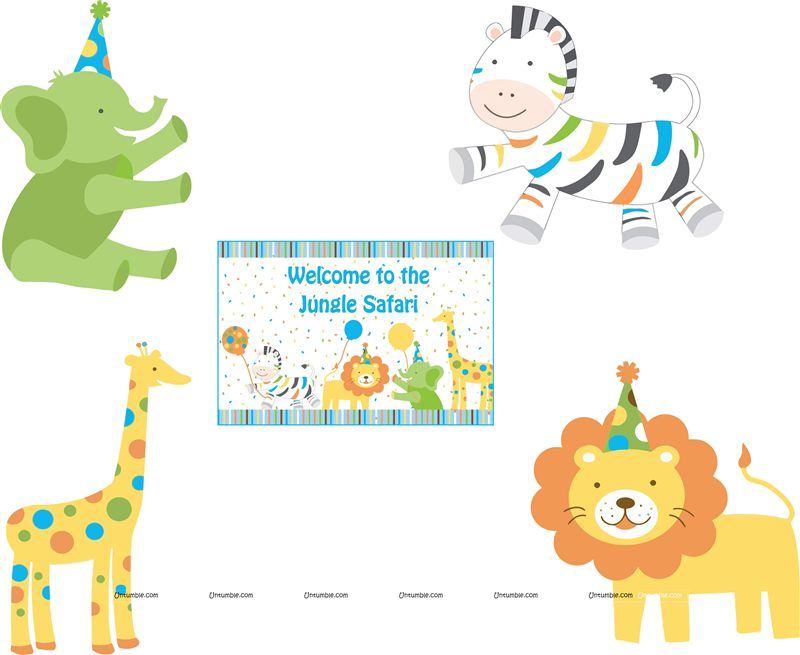 Jungle Safari Birthday theme Posters pack of 5