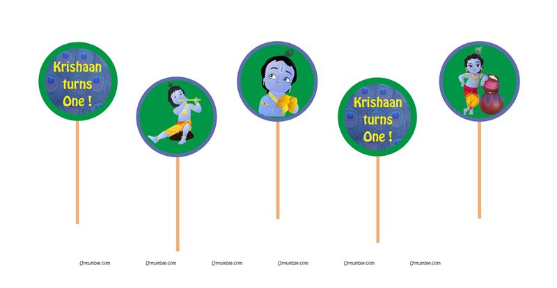 Little Krishna Theme Cup Cake Toppers