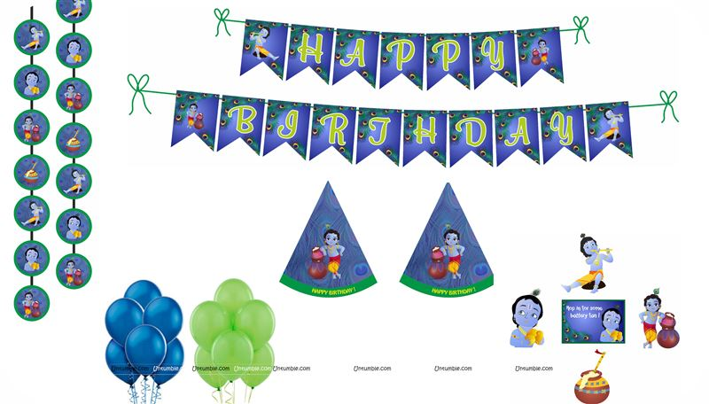 Krishna Super saver birthday decoration kit (Pack of 58 pieces)
