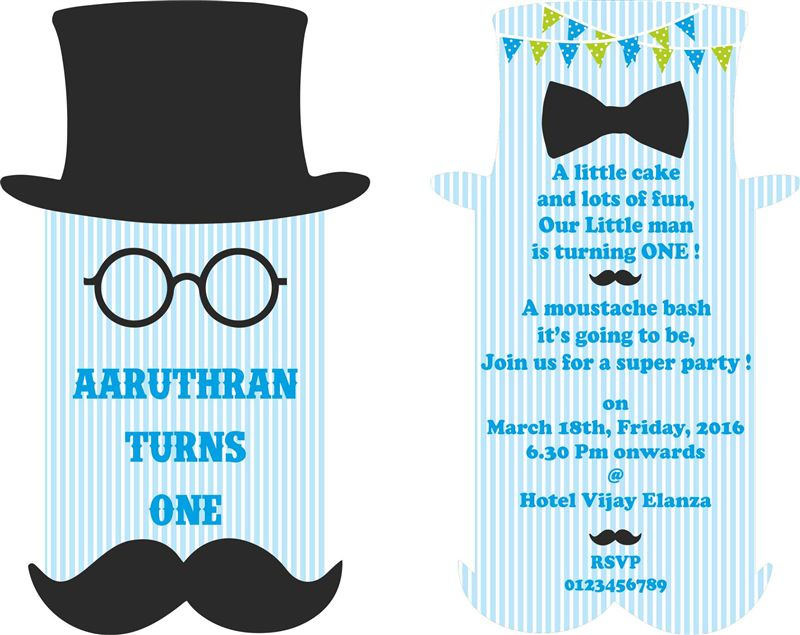 Mustache 1st Birthday invitations