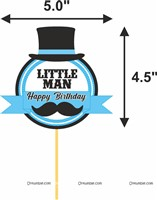 Little Man Cup cake & cake topper set ( Pack of 13)