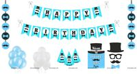 Little Man Super saver birthday decoration kit (Pack of 58 pieces)