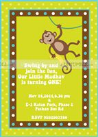 Monkey hanging Invite