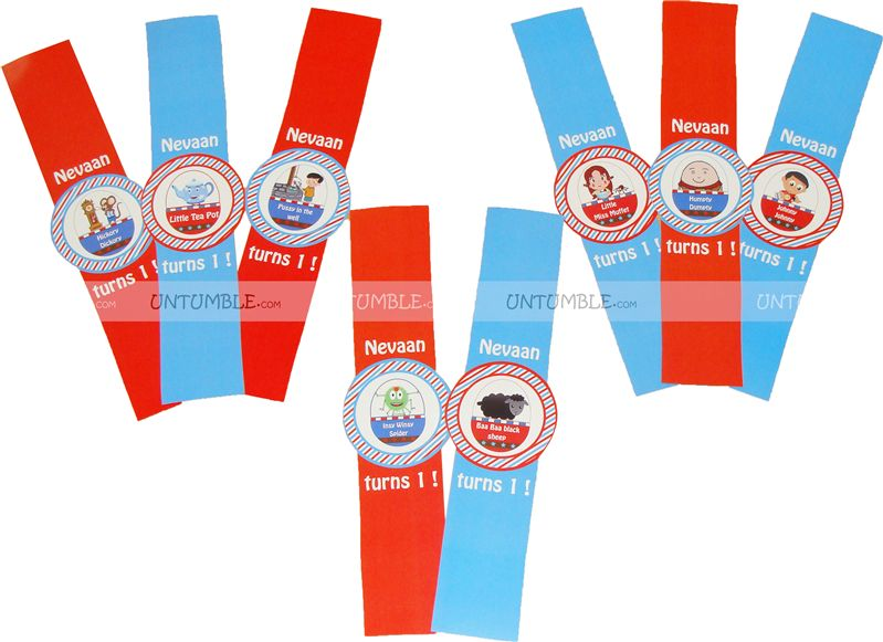 Nursery Rhymes Character Wrist Bands
