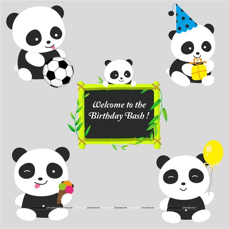 Panda theme Posters pack of 5