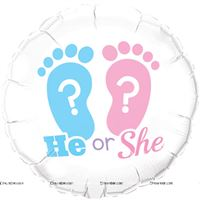 He or She 18inch Round Foil Balloon