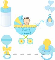Pink & Blue Babyshower theme Posters pack of 5