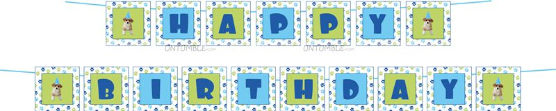 Puppy paw Happy Birthday Bunting