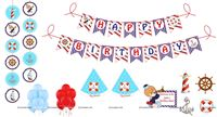 Sailor theme Super saver birthday decoration kit (Pack of 58 pieces)