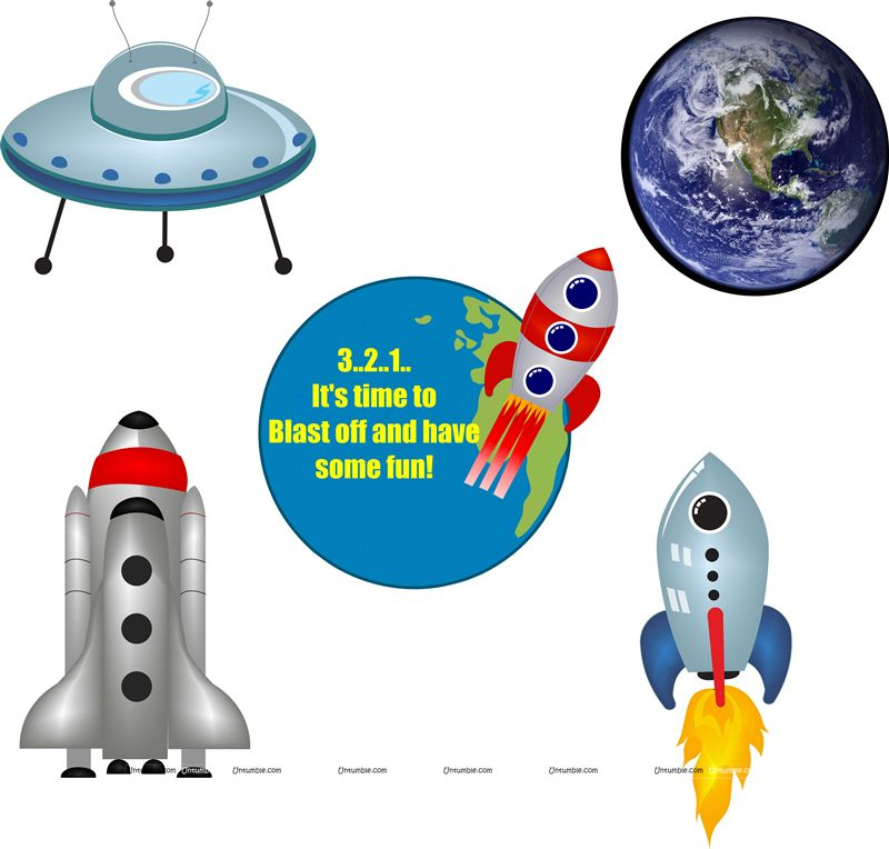 Space Birthday theme Posters pack of 5