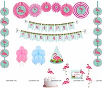 Flamingo Theme Paper Fan kit