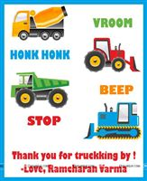 Truck theme birthday party cards