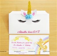 Gold Unicorn horn Invitations