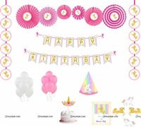 Unicorn theme Paper Fan Party Kit
