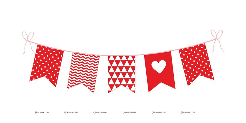 Red and White Valentine Bunting (10 feet)